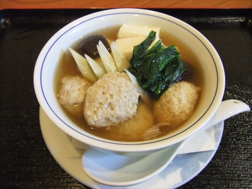 季節料理あらい4つくねと豆腐の蒸し物